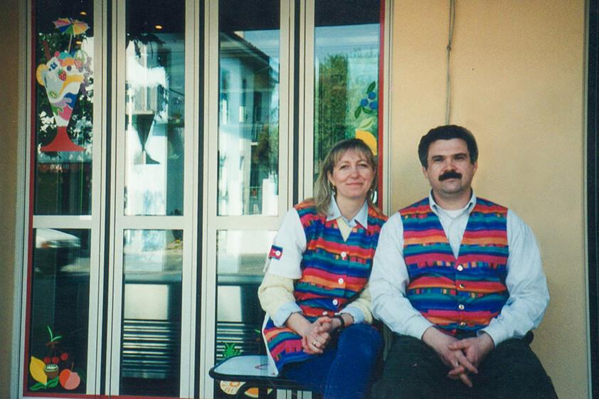 Paola e Giancarlo Timballo 1995 Gelateria Timballo Fiordilatte Udine